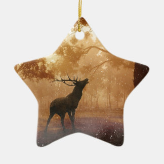 Stag in Mystical Forest Christmas Ornament