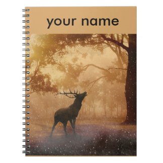 Stag in Mystical Forest Spiral Notebook