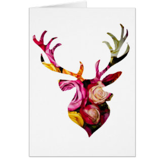 Stag in roses card