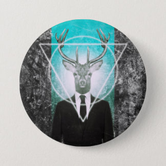 Stag in suit 7.5 cm round badge