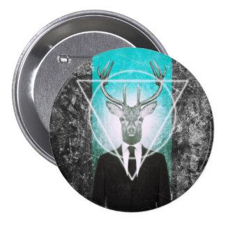 Stag in suit 7.5 cm round badge