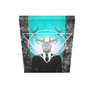 Stag in suit canvas print