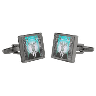 Stag in suit gunmetal finish cufflinks