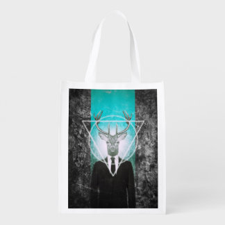 Stag in suit reusable grocery bag