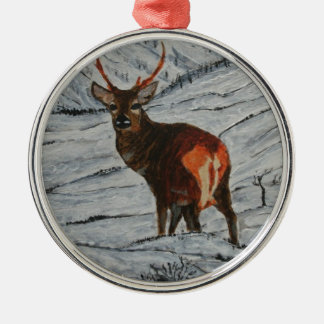 Stag in winter christmas ornament