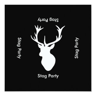 Stag Night - Bachelor or Stag Party Black White 13 Cm X 13 Cm Square Invitation Card
