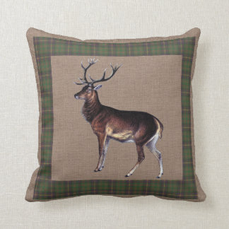 Stag on Burlap and Plaid Cushion
