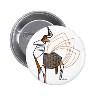 Stag origami 6 cm round badge