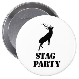"""Stag Party"" badges. Stag design 10 Cm Round Badge"