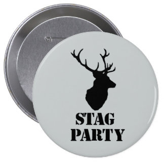"""""""Stag Party"""" badges. Stag head design 10 Cm Round Badge"""