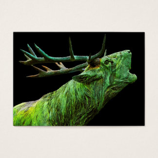 Stag Reindeer Head - Green, Black Back Business Card