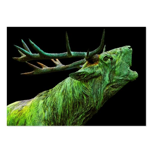 Stag Reindeer Head - Green, Black Back Business Card Template