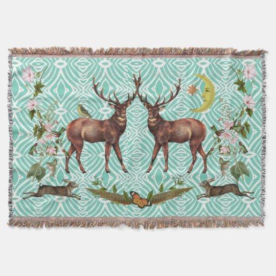 Stag Spirit Animal Throw Blanket