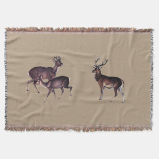 Stag with Antlers and Deer Taupe Rug Throw Blanket