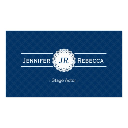 Stage Actor - Modern Monogram Blue Business Card
