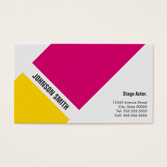 Stage Actor - Simple Pink Yellow Business Card