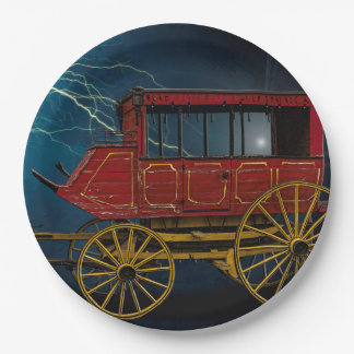 STAGE COACH IN LIGHTNING STORM PAPER PLATE