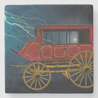 STAGE COACH IN LIGHTNING STORM STONE BEVERAGE COASTER