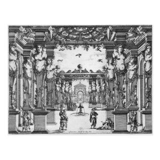 Stage design by Giacomo Torelli  for 'Mirame' Postcard