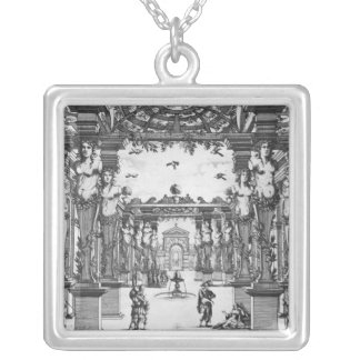 Stage design by Giacomo Torelli  for 'Mirame' Silver Plated Necklace