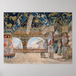 Stage design for Nikolai Rimsky-Korsakov's opera Poster