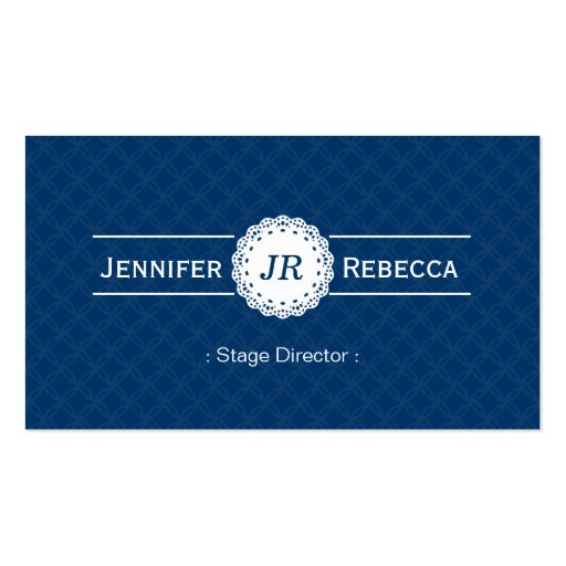 Stage Director - Modern Monogram Blue Business Card Templates