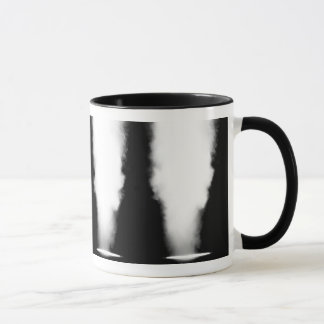 Stage lights in a row filled with smoke mug