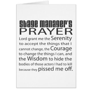 Stage Manager s Prayer Cards