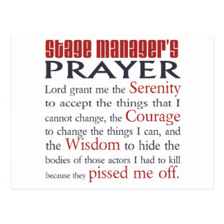 Stage Manager s Prayer Postcard