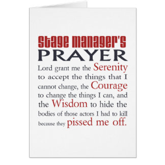Stage Manager's Prayer Note Card