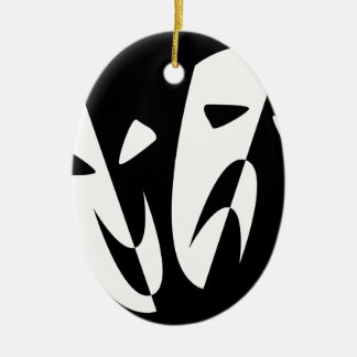 Stage Masks Ceramic Oval Decoration
