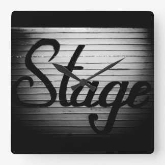 """Stage"" Vintage Sign Square Wall Clock"