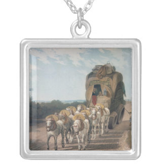 Stage Waggon, engraved by J. Baily Silver Plated Necklace