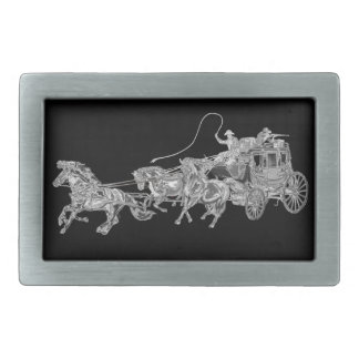 STAGECOACH CHROMED RECTANGULAR BELT BUCKLE