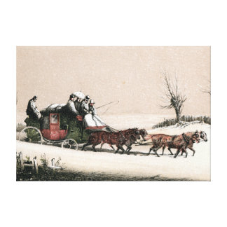 Stagecoach in the Snow Canvas Print