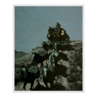Stagecoach Midnight Run Art Print Poster