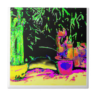Staghorn Fern GO GREEN1a jGibney The MUSEUM Zazzle Small Square Tile