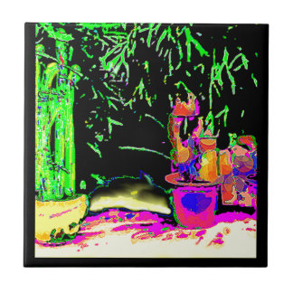 Staghorn Ferns GO GREEN jGibney The MUSEUM Zazzle Small Square Tile