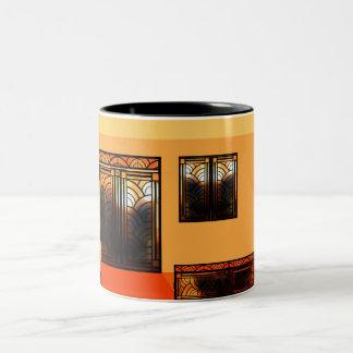 Stain Glass Art Deco Two-Tone Coffee Mug