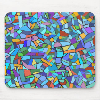 Stain Glass Blue Abstract Mosaic Mouse Pad
