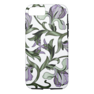 Stain-Glass Chinese Flowers Green & Purple iPhone 7 Case