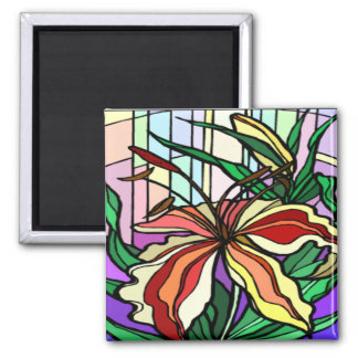 Stain Glass Lily Magnet
