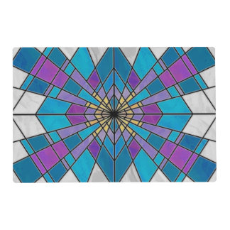 Stain Glass Ray Blue and Purple Laminated Place Mat