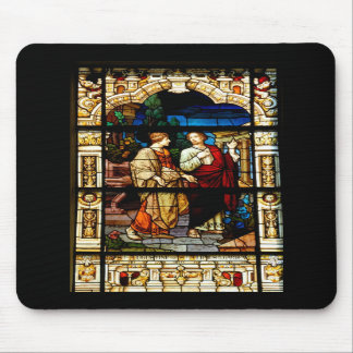 stain glass window at church mousepad