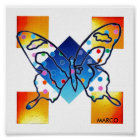 Stain Glass Window Butterfly print poster