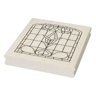 Stain Glass Window Floral Iris Rubber Stamp