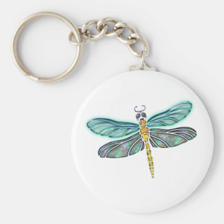 Stained Glass & Abalone Shell Dragonfly Basic Round Button Key Ring