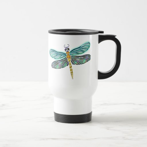 Stained Glass & Abalone Shell Dragonfly Coffee Mugs