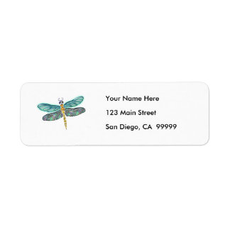 Stained Glass & Abalone Shell Dragonfly Return Address Label