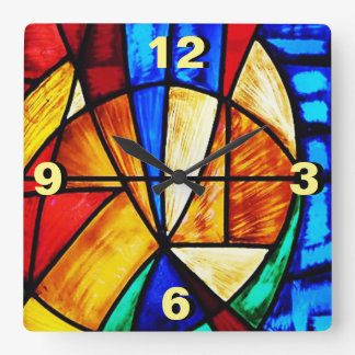 Stained Glass Abstract 2 Square Wall Clock